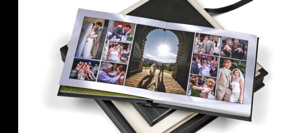 a wedding album and a print