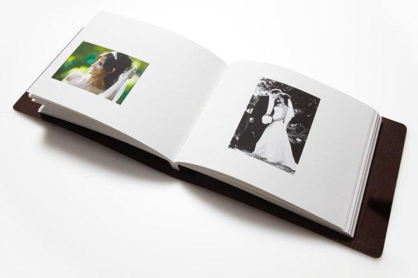a leather bound wedding album