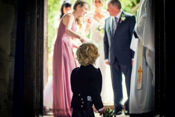 Long Wittenham Abingdon Church wedding photography, little boy waiting for the bride
