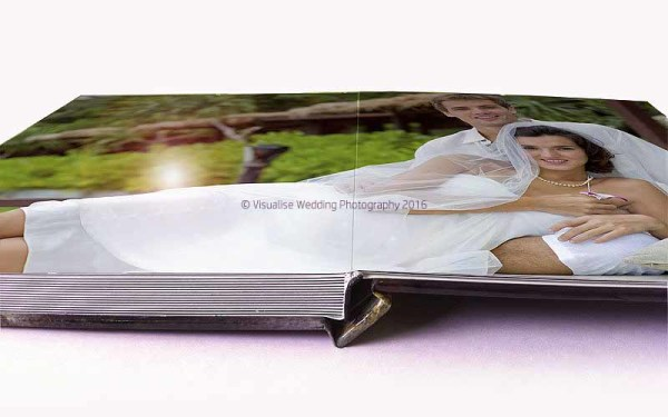 a layflat wedding album open pages