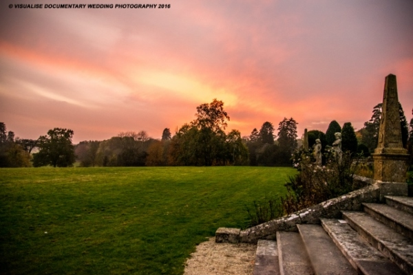 Eynsham Hall wedding Day photography of sunset