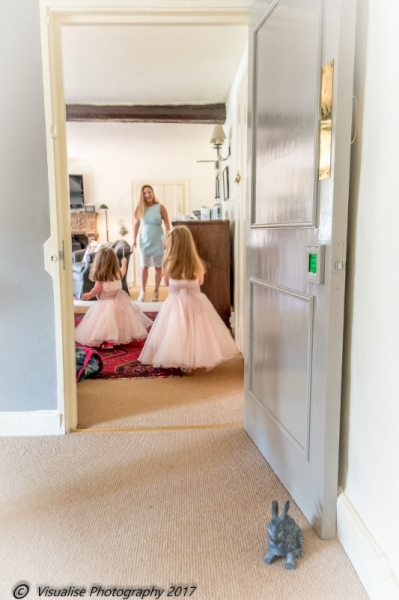 FLOWER GIRLS AT THE BAYTREE HOTEL BURFORD WEDDING PHOTOGRAPHY OXFORDSHIRE