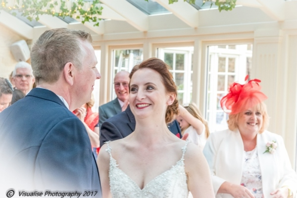 HAPPY BRIDE AT THE BAYTREE HOTEL BURFORD WEDDING PHOTOGRAPHY OXFORDSHIRE