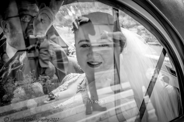 Bournemouth beach wedding photography bride sat in wedding car