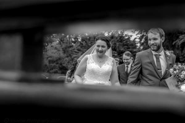wedding in bournemouth, bride and groom walking down the street