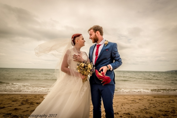 bournemouth beach wedding photographer, bride and groom on Bournemouth beach