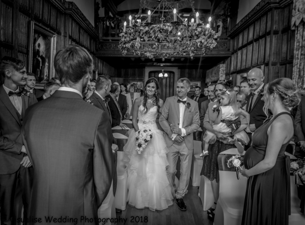 wedding photography, bride walking down the aisle at the country house weston on the green