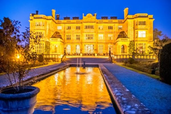 The Glorious Eynsham Hall in Oxfordhsire all lit up at dusk