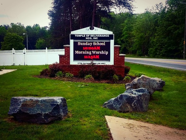 TEMPLE OF DELIVERANCE, COGIC, CHURCH SIGN, epic led, led sign, led signs, outdoor led sign, 20 mm led sign