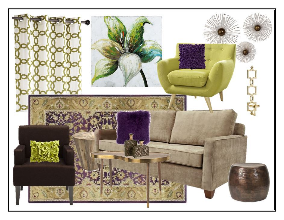 Retro Green and Purple Living Room