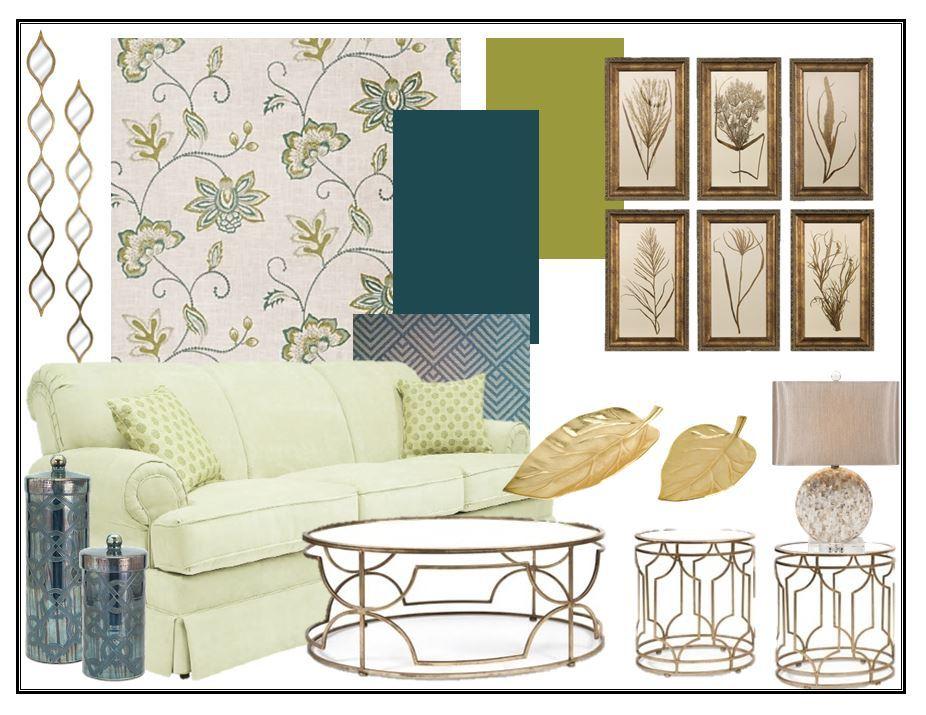 BLue Floral Living Room