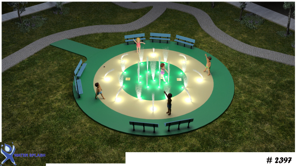 fountain, splashpad, splash park, led light, fountain with led