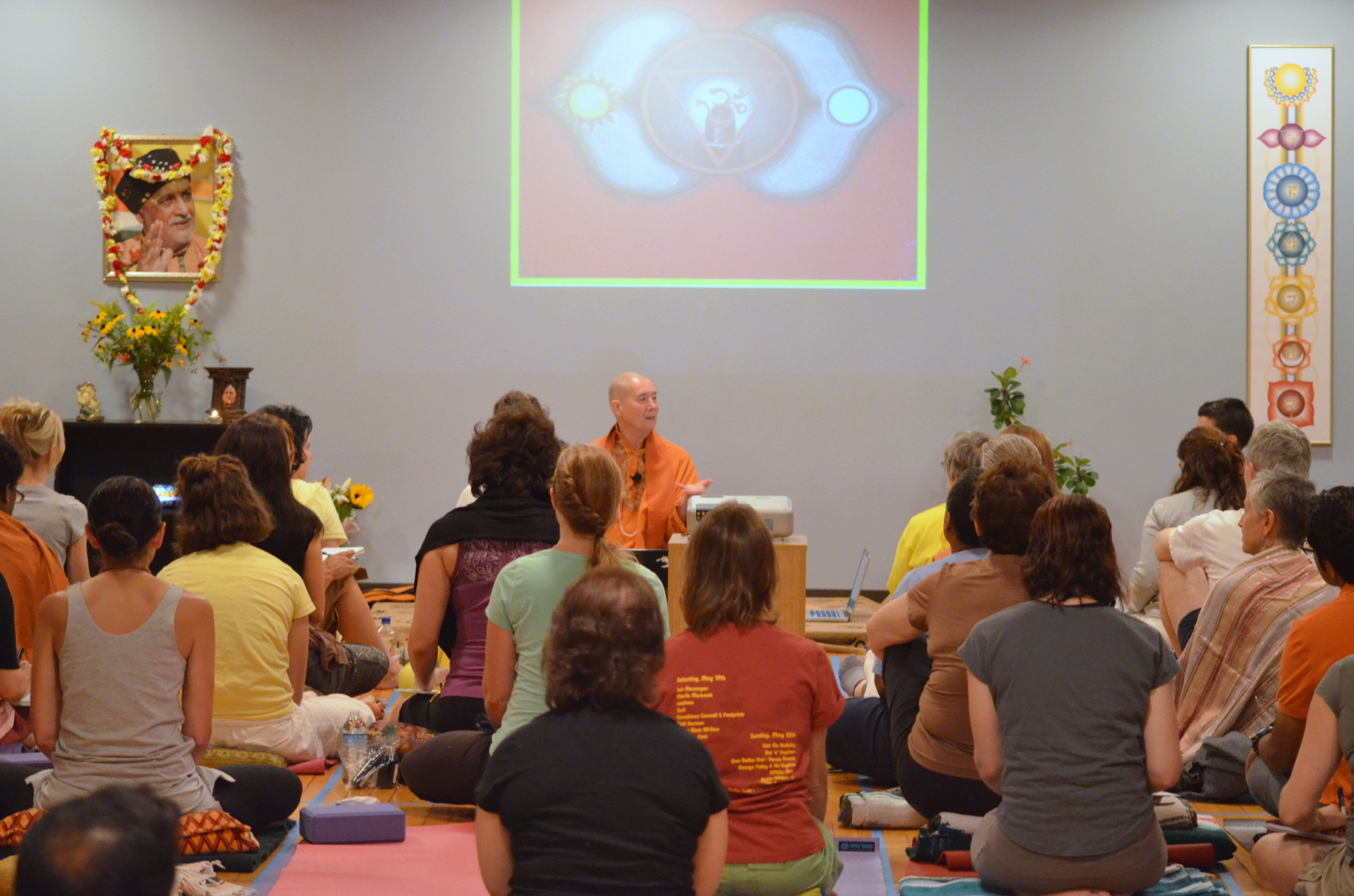 Swami Satyadharma teaching a workshop