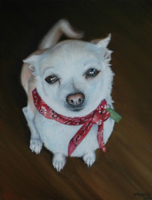 Oil painting of Chihuahua with red bandana