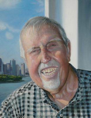 Oils portrait of my father arriving in New York on cruise ship