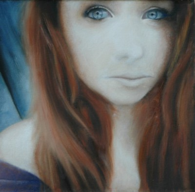 Oil painting of girl doing a selfie