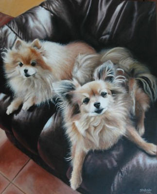 Acrylic pet portrait of two dogs on sofa
