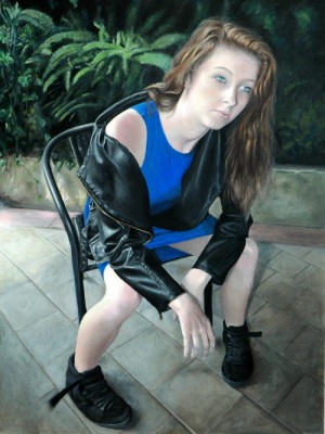 Acrylic portrait of teenager on chair in angst
