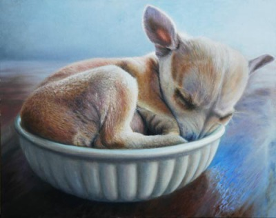 Oil painting of Chihuahua puppy in bowl