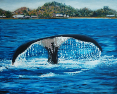 Whales tale breaching the water in Madagascar