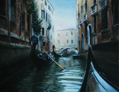 Oil painting of gondolas in Venice on canal