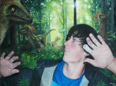 Oil painting of young boy in forest with dinosaurs