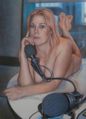 "Nothing on but the Radio ~ 18 x 24"" ~ Oil on wood panel ~ Heidi Anderson, Hit 92.9"