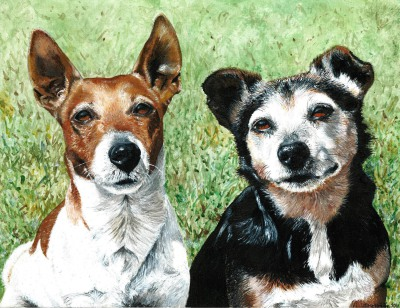 Rusty and Tina ~ Pet Portrait Commission ~ Acrylic on canvas