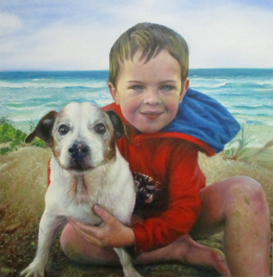Mike the Jack Russell and young Flynn ~ 30' x 30' ~ Oil on Canvas ~ Commission