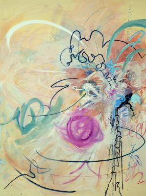 'The Clown' 2014. Acrylic and oil on canvas. 183 cm x 137 cm
