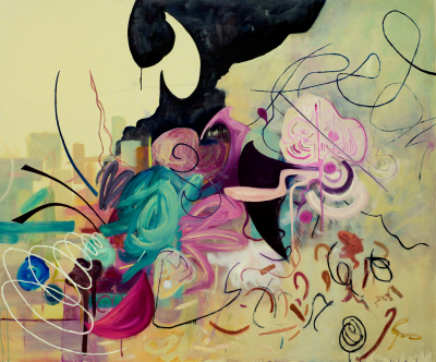 'Mindscape' 2014. Acrylic and oil on canvas. 152 cm x 182 cm