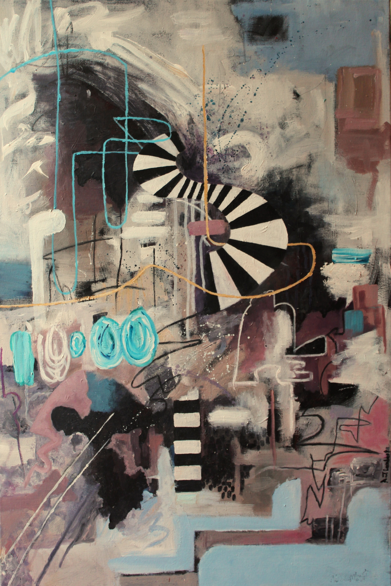 'Descent' 2015. Acrylic on canvas.  90 cm x 60 cm.
