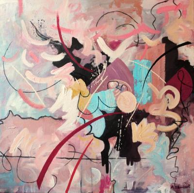 'Sunshine Days' 2015. Acrylic on canvas. 60cm x 60 cm.
