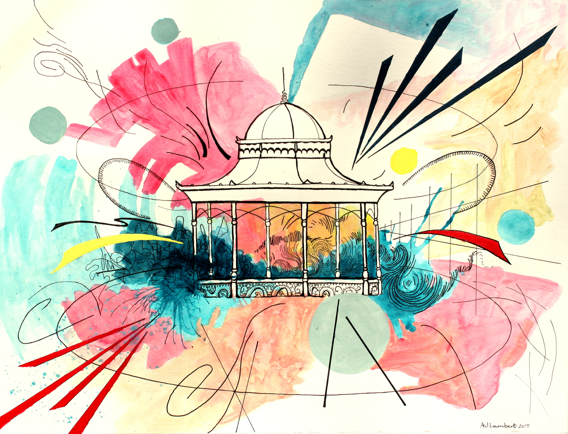 'Magdalen Green Bandstand' 2015. Acrylic and pen on paper. 32.5 cm x 41 cm