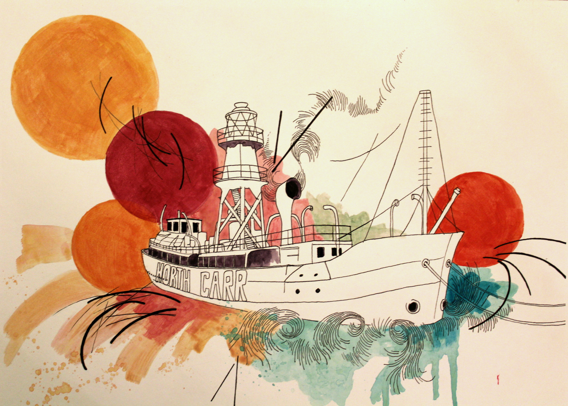 'North Carr Lightship' Acrylic and pen on paper.