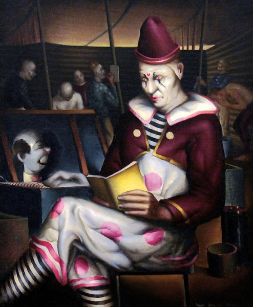 "Photo of Paul Sample's painting ""Clown Reading"" 1933"