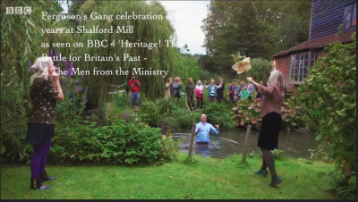 BBC$ film polly bagnall at Shalford mIll for Heritage! the Battle for Britains Past
