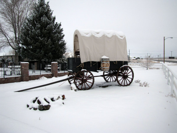Look for the covered wagon out front