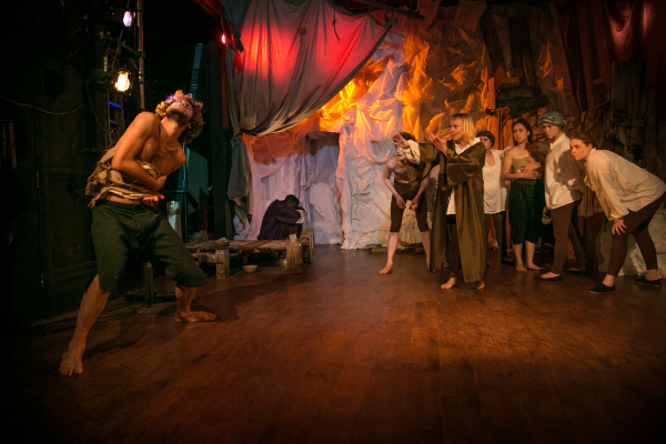 Caliban, Prospero (Ruskin Denmark and Karen McCaffreyy) and Company