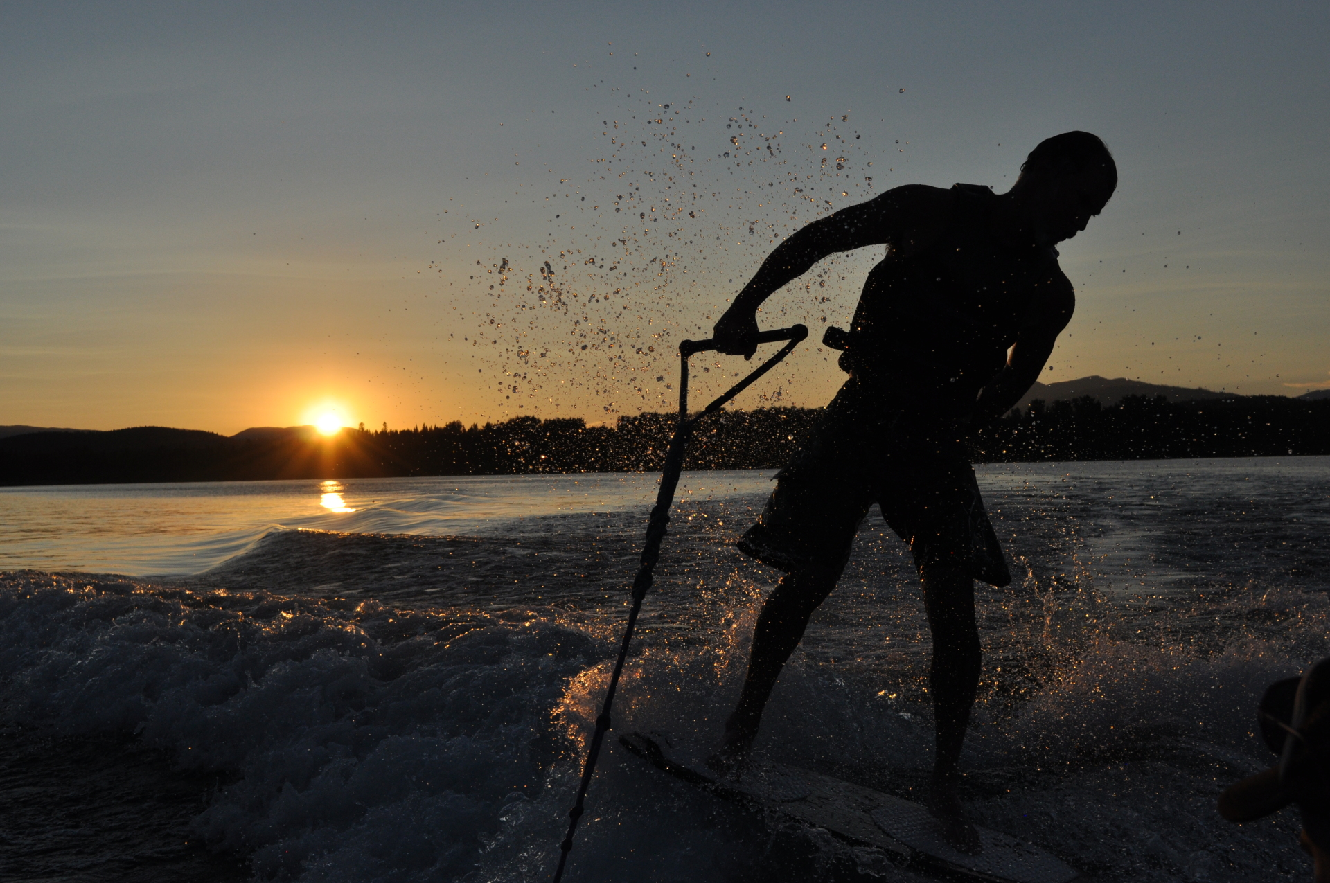 Sunsets and water skiing on Whitefish Lake
