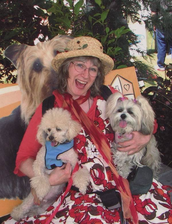 Steffie And Poodle And Lhasa Apso Pets At Portland Doggy Dash Photo Taking After The Big Walk Around City Of Portland Bridges Happy Summer Day