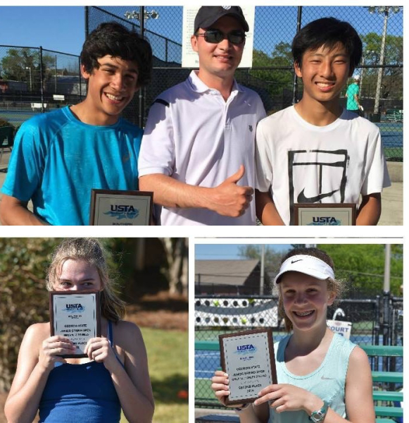 Justin Waldman wins singles and doubles Daiki Shined win doubles with Justin Amber Reed and Annafrench Sharp