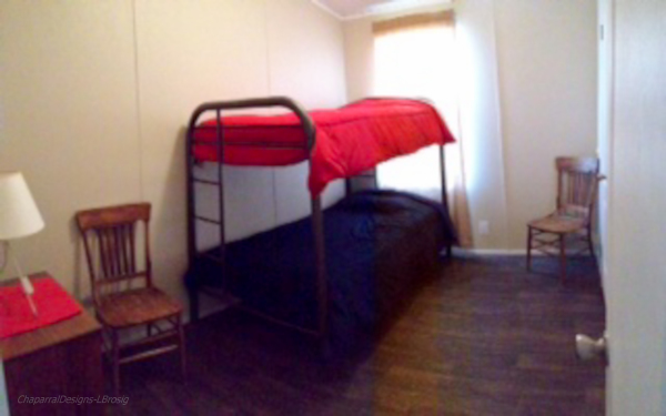 Cabin lodging, twin beds,