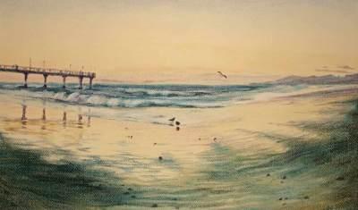 pastel painting Brighton Pier and seashore in sunset