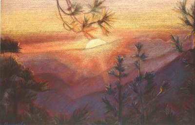 sunset, pastel art