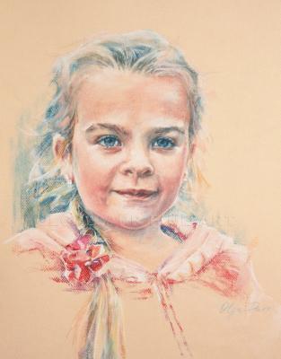 portrait, girl, pastel, original art, portrait commission
