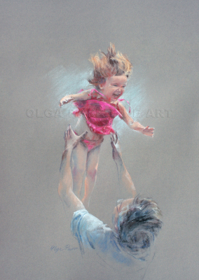 portrait of laughing little girl flying up from dad's hands