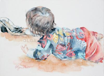 baby girl, girl and shoes, cute, watercolour art, children in watercolour, art for sale, original art