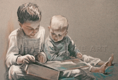 portrait of two little boys reading book