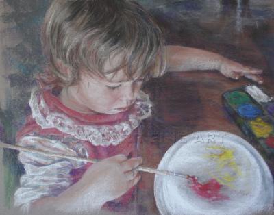 portrait of painting little girl